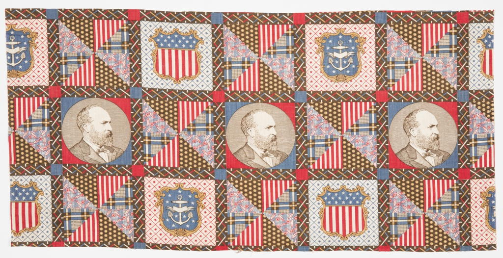 Printed patchwork fragment has the image of President James A. Garfield and alternating shield flags patterned with either stars and stripes or an anchor with stars. Remaining quadrants have a printed patchwork design and are divided into eight equal triangles filled with four different patterns. This particular image of Garfield in profile wearing a white shirt and dark jacket and tie is based on a photograph from the Pach Brothers photography studio of New York and was widely circulated around the United States.