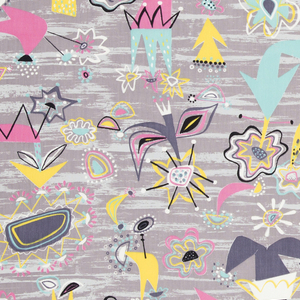 "Yard goods; a Signature Fabric, ""Futuriste"" designed by Lamartine Le Goullon of Associated American Artists, 1953."