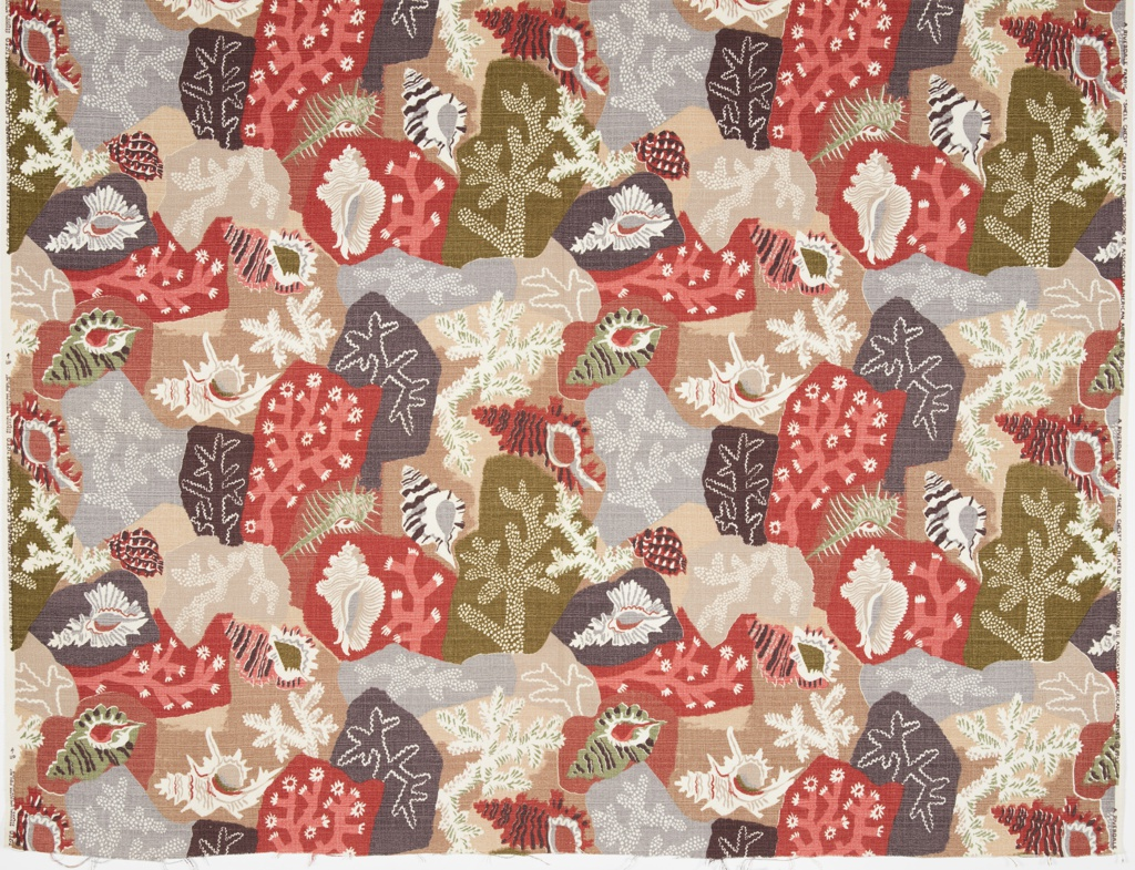 "Length of printed cotton with nubbed, ""bark cloth"" texture. Irregular shapes in dark plum, olive green, tans, rusty red, pink, gray, and white, each containing a seashell or piece of coral."