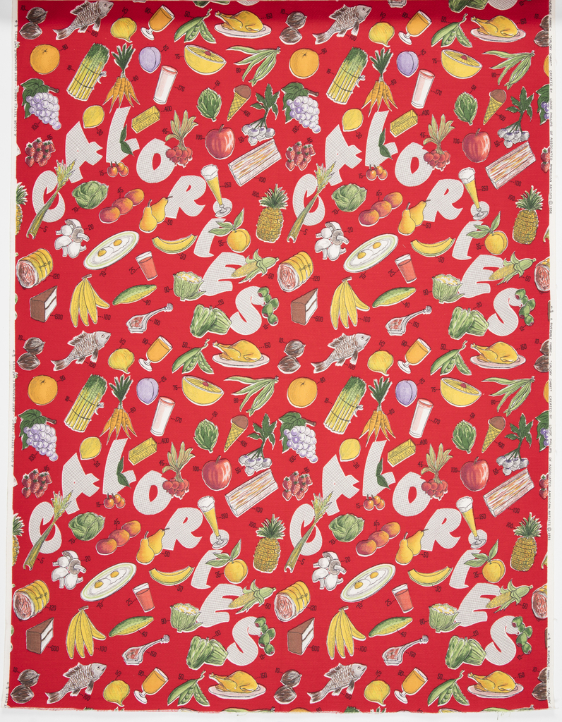 """Yard goods; a Riverdale Fabric, """"Calory Chart"""" designed by Louise Phillips of Associated American Artists, 1952."""