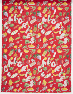 "Yard goods; a Riverdale Fabric, ""Calory Chart"" designed by Louise Phillips of Associated American Artists, 1952."