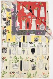 """Yard good samples; a Riverdale Fabric, """"Curio Cabinet"""" designed by Doris Lee of Associated American Artists, 1952."""