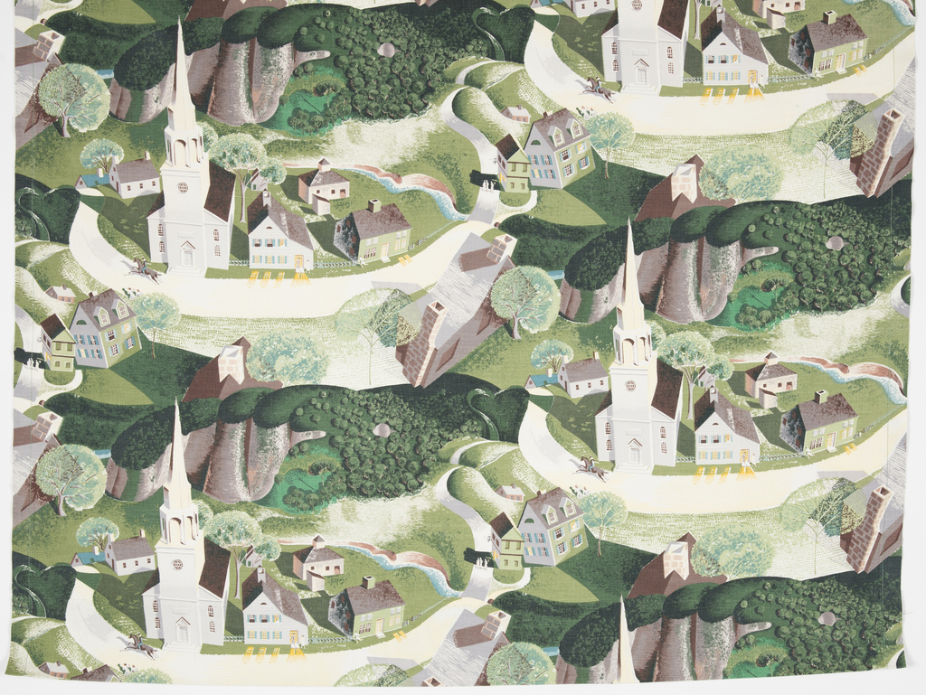 "Yard goods; a Riverdale Fabric, ""The Ride of Paul Revere"" designed by Grant Wood of Associated American Artists, 1952."