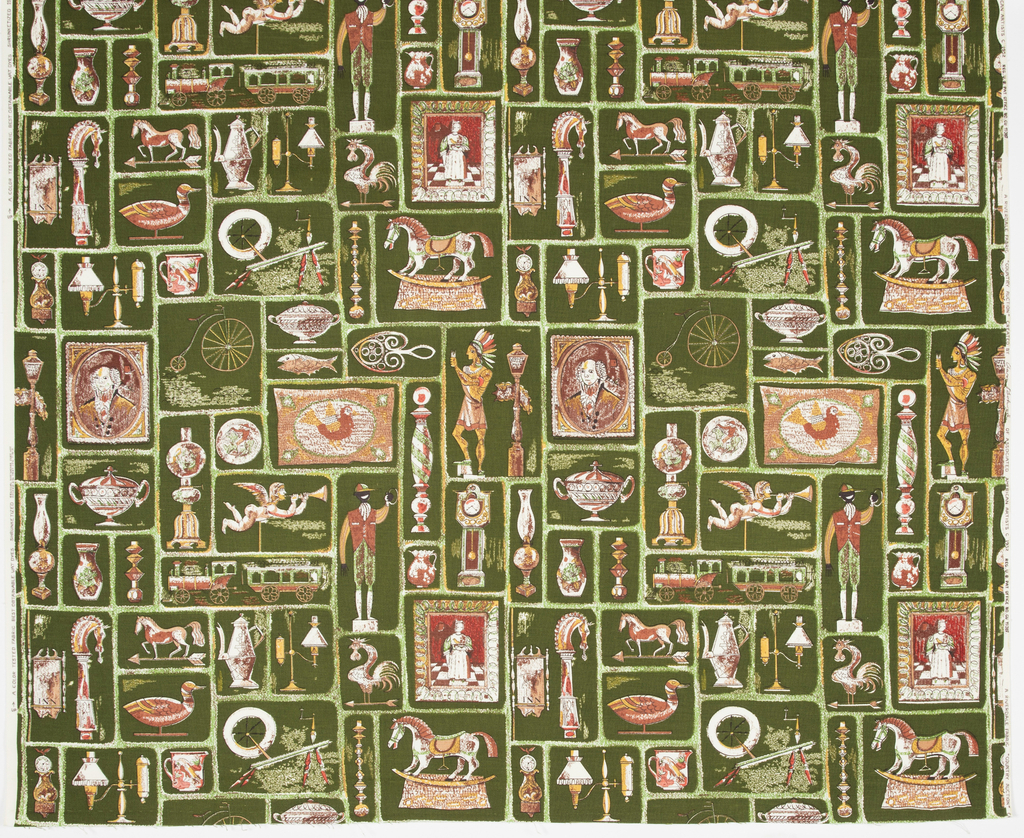 "Yard goods; a Riverdale Fabric, ""Country Auction"" designed by Aaron Bohrod of Associated American Artists, 1952."