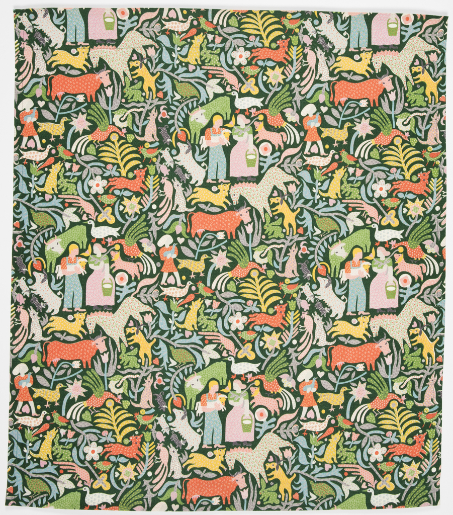 "Yard goods; a Riverdale Fabric, ""Calico Cow"" designed by Ilonka Karasz of Associated American Artists, 1952."