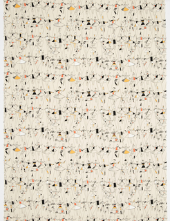 "Yard goods; a Signature Fabric, ""Puppet Ballet"" designed by Jacqueline Groag of Associated American Artists, 1953."