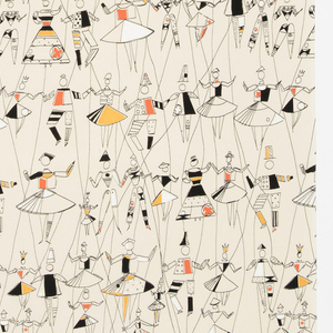 """Yard goods; a Signature Fabric, """"Puppet Ballet"""" designed by Jacqueline Groag of Associated American Artists, 1953."""