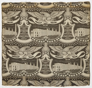 Woven textile serves as a commemorative of the US centennial while promoting the textile manufacturer Pacific Mills of Lawrence, Massachusetts. Woven in black and cream, the composition has a bold graphic quality and depicts a broadly soaring eagle over a large modern factory enclosed in curvilinear frame. In between each factory is a plaque identifying the Treasurer, Agent and Selling Agent of the business.