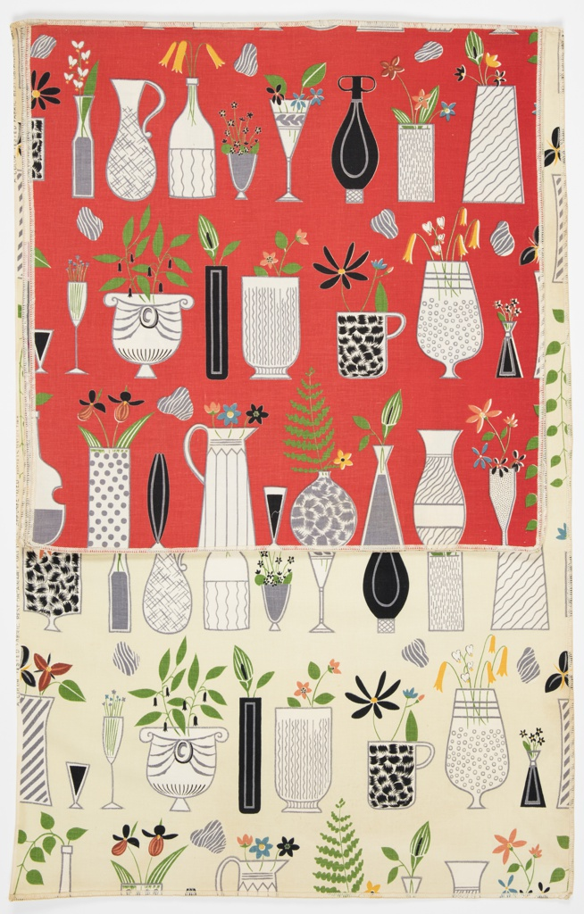 "Yard good samples; a Riverdale Fabric, ""Curio Cabinet"" designed by Doris Lee of Associated American Artists, 1952."