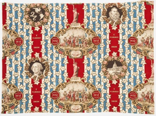 Commemorative textile with red, white and blue vertical stripes with scattered stars enclosing abbreviationss of state names. A medallion of Columbus discovering America alternates with the Status of Liberty. On the left side, small medallions of Washington alternate with a map of the Americas. On the right side, medallions of the Capitol Building alternate with a portrait of Columbus.