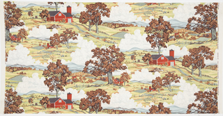 "Yard goods; a Riverdale Fabric, ""American Splendor"" designed by Luigi Lucioni of Associated American Artists, 1952. New England autumn landscape with its fire engine-red barns, rustic wooden fences, billowing clouds, and white church steeples nestled among the distant trees.  Burnt orange foliage decorates the sunny and bright rolling pastures."