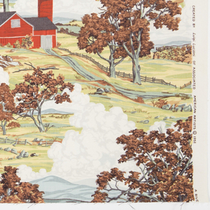 """Yard goods; a Riverdale Fabric, """"American Splendor"""" designed by Luigi Lucioni of Associated American Artists, 1952. New England autumn landscape with its fire engine-red barns, rustic wooden fences, billowing clouds, and white church steeples nestled among the distant trees.  Burnt orange foliage decorates the sunny and bright rolling pastures."""
