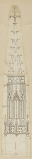 Design for a steeple. At base, a balustrade with designs in metalwork. Three windows built into stonework of the structure. Steeple topped by large spire with protrusions.