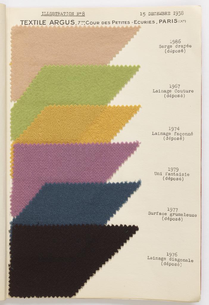 Sample Book (France), 1938
