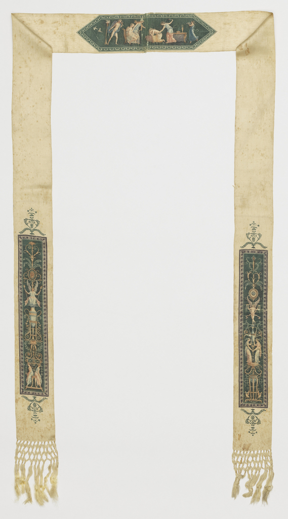 Long and narrow sash printed with images taken from Pompeiian wall paintings.