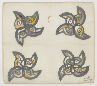 """Square of sheer cotton, heavily sized, with large design of whirling pinwheel-like shapes. Outlined in heavy black with touches of purple, orange, dull yellow-green, painted in afterwards. Fairly narrow hem on four sides with open work finish. Signed: """"B. Rahmi 1951"""" in lower right band corner, flanked by small bird conventions."""
