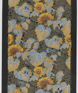 All-over pattern of sunflowers and leaves. Printed in colors on a black ground. Reproduction of the original design.