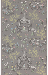 "Wallpaper roll. Two scenes of small ponds, gazebo with urn in center, butterflies. Printed in multicolor on gray ground. Perforated selvedge. Printed in selvedge: ""Lancastria Line, Made in England""."