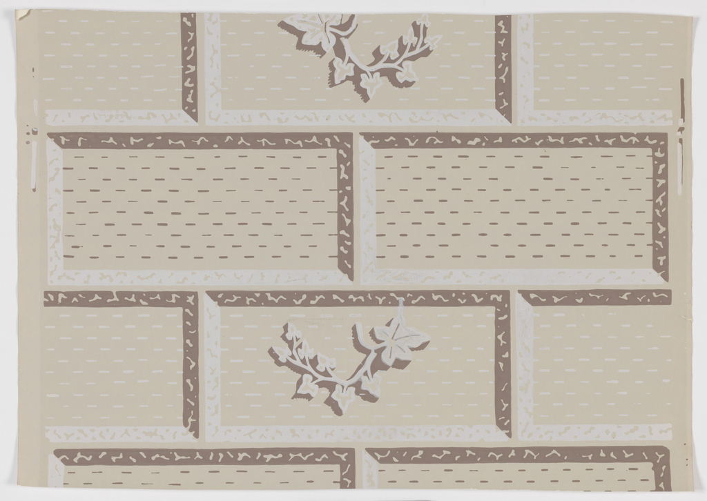 The pattern is of masonry blocks, some decorated with a low relief of ivy spray. In off-white and grey on a stone ground.