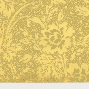 Aesthetic all-over pattern with stylized bunches of peony flowers; single-motif diamond-shaped repeat in off-set columns; negative ground speckled with irregularly-sized dots; color scheme of gold on dark yellow.