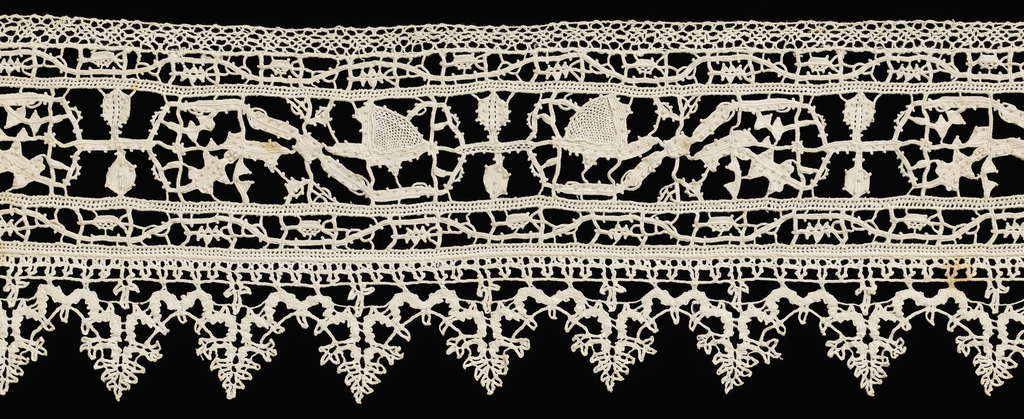 Band with a grid of withdrawn element work of needle lace (reticella) with continuous repeat of a scrolling vine. Edge of bobbin lace of continuous braid like.