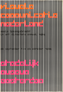 Poster for a Dutch graphic design exhibition showing type against a ground of vertical bars resembling a bar code reading.  This work, like all of Crouwel posters, is based on a grid system (upon close inspection the pre-printed gridded paper is visible; each line represents 1 cm).  The letters of the major text are square, 4.5 x 4.5 cm, while the smaller letters in the subtext are also square, 1.3 x 1.3 cm.