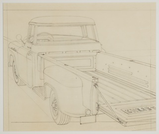 "Design for a Chevrolet truck, shown in three-quarter view from the back. Enclosed two-passenger cabin at front, an open truckbed trailer at rear with a folding door with the letters ""CHEVRO"", shown open, for loading and unloading. At the vehicle's side, an inset step allows for access to the trailer."