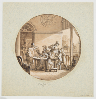 Circular format. Six figures are grouped on the porch of a coffee plantation house in Arabia (indicated by the decorative plaque above the wall moulding.  A gentleman in high hat points to a botanical book showing a drawing of the coffee plant.  A man, seated at a table, appears to be holding a coffee bean pod in his right hand.  To his left, a woman is pouring coffee into a cup held by a young boy.  A woman, seen through the doorway (rear left) is grinding coffee beans.  Another woman, seen outdoors (rear right) appears to be working at a bean roasting apparatus.