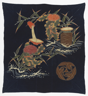 Still-life of flowers and pottery set in ocean waves. In soft greens, reds, browns, white, yellow on dark blue ground. Large circular family crest (Mon) in lower right. Made up of two breadths and narrow center panel. Corners accented by hand-stitching.