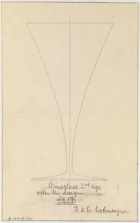 Inverted triangular shaped wine glass that tapers at bottom where the stem and bottom meet.