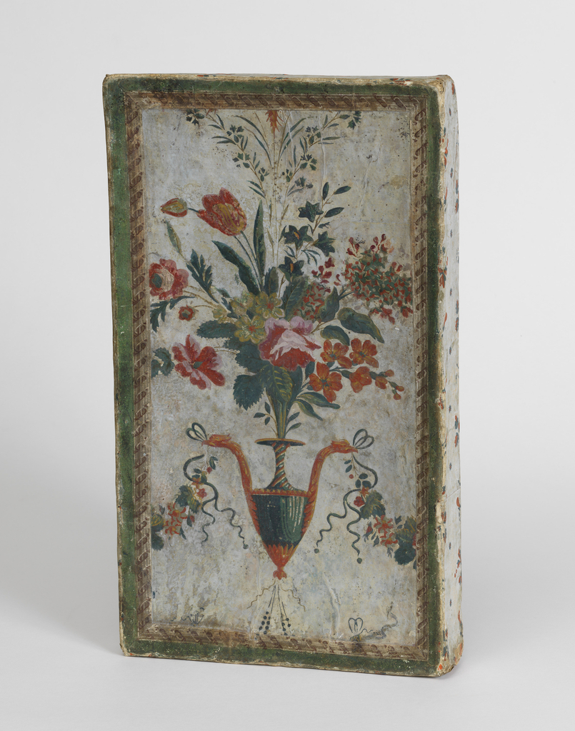 Box covered with Réveillon wallpaper, featuring arabesque printed on light blue ground on cover, with narrow border running around edges. Bottom and inside are covered with French invoices.