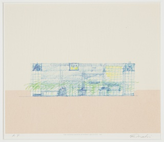 Situated on the lower third of the paper, the proposed Southern elevation of the National Museum of Modern Art, Kyoto, shown from across the Okazaki canal. Articulated in sketchy color pencil, dark blue lines depict the overall grid structure of the façade, with lighter blue tones representing the solid elements in concrete, yellow indicating larger sections of transparent paned glass, and green tones signifying the location of trees and greenery on the exterior ground level. Printed text at lower center and graphite inscriptions at lower left and right.
