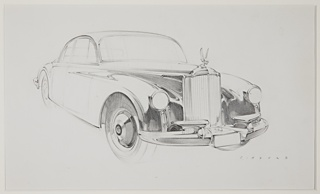 Design for a Packard automobile concept, the car viewed in 3/4 profile view from the front, facing right. Rounded, sloping car body, a raised projecting element at the center of the hood. At the hood's peak, a hood ornament of a winged figure above a tall vertical grille. Circular headlights at either side. A large chrome bumper below with the license plate at center, raised anvil forms framing the plate. Concentric circle details visible at the hub cap.