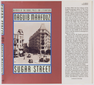 "Book jacket design for ""Sugar Street."" On red ground, a photoillustration at center printed in yellow tones, depicting city square; surrounding architecture visible, automobiles and figures in the street. Photo bordered by a blue outline with the author's name and title in black text with red accents on a pale green background above and below."
