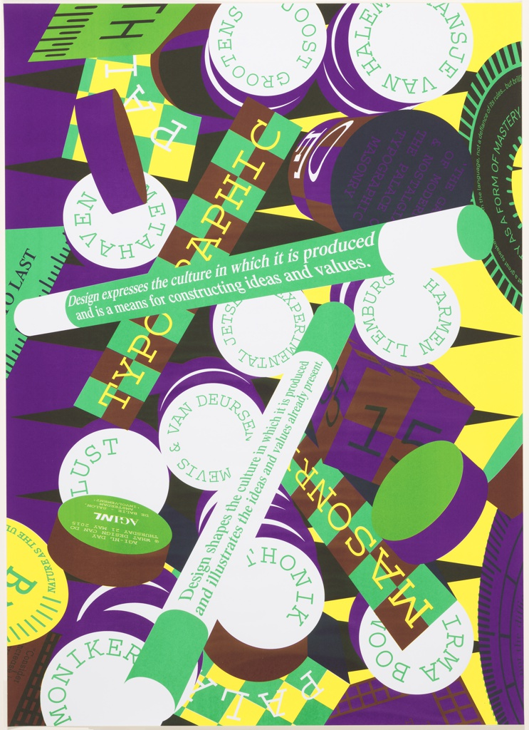 On purple ground, multicolored poster design featuring an array of layered, overlapping geometric volumes in the form of rectangular prisms, cylinders, cubes, and others. Each plane rendered in a different bright, flat color or in a checkered pattern of two colors; most feature printed text in typewriter-style font.