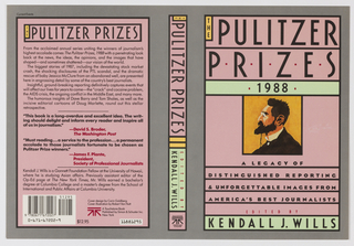 "Book jacket design for ""The Pulitzer Prizes: 1988."" On gray ground, large pale pink rectangles with thick black borders at front and back covers and along spine. At front cover, the forms at front and spine with added highlights in pale green. Complete text of book at front cover with an illustration of a male figure viewed in profile at center. At back cover, description, reviews, and editor biography."