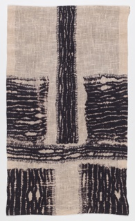 Vertical hanging with a cross-like form in black on an unbleached linen ground. Lined with black cotton.