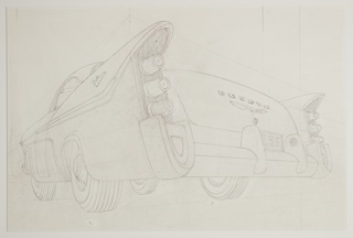 "Design for DeSoto automobile concept, a division of Chrysler, the car shown in three-quarter view from behind. Large projecting tail fins at rear right and left sides with three protruding cylindrical tail lights arranged vertically below each. At the center of the truck, the name ""DESOTO"" with the company's marque below. A license plate with the numbers ""956"" centered above a large chrome bumper below."