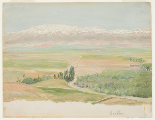 Horizontal drawing of view of the snow covered range across a fertile valley and a hardly discernible town, Baalbek.
