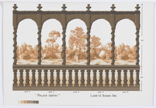 Samples of scenic mural miniatures, sidewalls and border, including: Boiserie Regence, Bougainvillea Vine, Pomegranate Tree, La Reggia, Piemontese, Louis XVI Town and Country Panels, Topiary Arch, Petite Moulin, Bamboo and Acanthus, Pilaster and Elements, Niche Espalier & Trellis, Kenwood, Paris-1830, Venetian Scenes, Trellis Work, Abstractions and Palais Jardin. Each design is represented in multiple colorways.