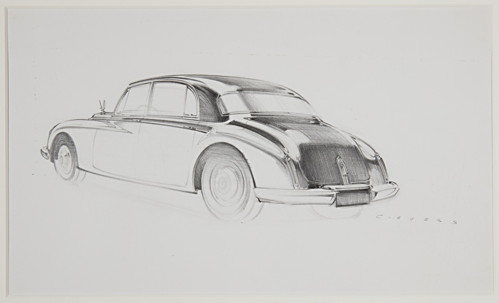 Design for a Packard automobile concept, the car viewed in 3/4 profile view from behind, facing left. Rounded, sloping car body, long curved metal rear bumper. Above the rear license plate, a handle at center for opening the trunk. Visible at the left is a hood ornament of a winged figure.