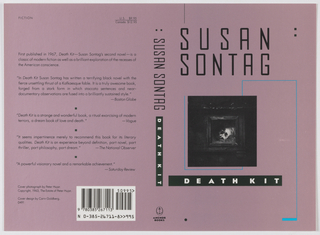 "Book jacket design for ""Death Kit,"" part of Susan Sontag series. On pink ground, a black and white photoillustration of a work by Peter Hujar depicting a human skull in a box or frame. Surrounding the photograph, a winding rectangular line in light blue. Author's name in black text above, title in white text within black rectangle below. At spine, author's name in black text, title in white text within black rectangle, publisher's name and colophon (logo) in black at bottom. At back cover, printed text description and excerpts from reviews. Credits at lower left, bar code at lower right."