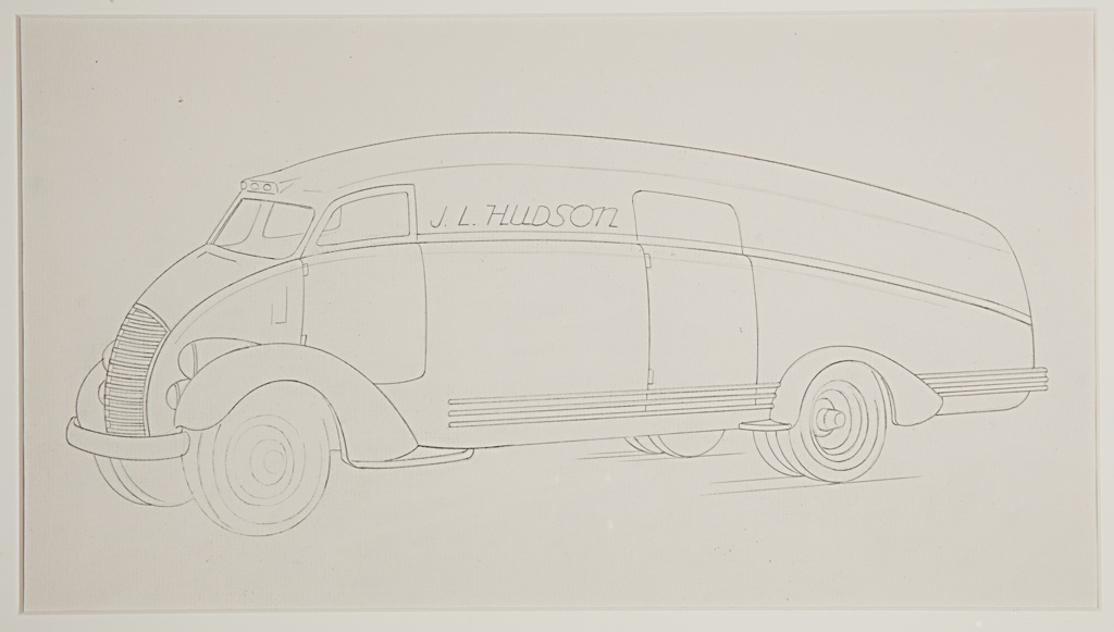 """On white ground, graphite line drawing of a design for a bus, the vehicle viewed in three-quarter profile facing the left. The automobile has a curved shape with horizontal stripes at the side; chrome bumper at front. The front and rear tires both exposed under the wheel well. A large horizontal grille at front, stacked double round headlights at left and right. Narrow horizontal windshield. Door indicated at driver's seat; larger door in front of rear wheel along the side. """"J. L. Hudson"""" inscribed in graphite along the side of the vehicle, between the doors. Indications of diagonal grounding lines below tires."""