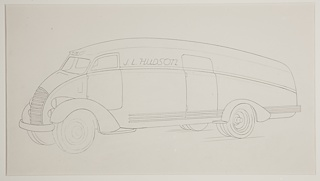"On white ground, graphite line drawing of a design for a bus, the vehicle viewed in three-quarter profile facing the left. The automobile has a curved shape with horizontal stripes at the side; chrome bumper at front. The front and rear tires both exposed under the wheel well. A large horizontal grille at front, stacked double round headlights at left and right. Narrow horizontal windshield. Door indicated at driver's seat; larger door in front of rear wheel along the side. ""J. L. Hudson"" inscribed in graphite along the side of the vehicle, between the doors. Indications of diagonal grounding lines below tires."