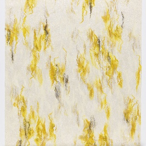 Felted wool and silk wallcovering with organic swaths of weld yellow fiber on an ivory ground. Backed with paper.