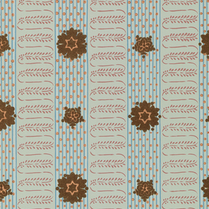 Stripe pattern created by alternating bands of a scrolling foliate line and vertical pinstripes with polka dots. Flocked floral motifs are overprinted on the vertical striped bands. Printed in blue, mauve, metallic copper and green flock on light green ground.
