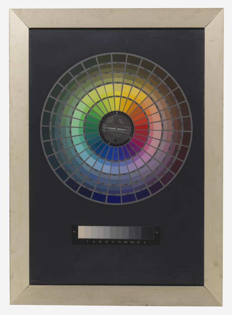 Color circle with equal valued concentric circles of tints, shades and tones. Circle divided into five rings, with 30 tints in each ring, numbered, and in the center a revolving key. Below, a gray scale. Circle on a gray ground, outside, flat black.