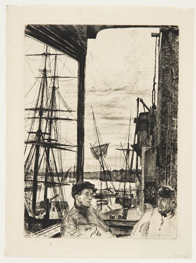 View of the harbor in the background, with sailing ships of various types visible. In the foreground two figures of men, shown half-length, are smoking.