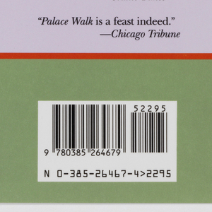 """Book jacket design for """"Palace of Desire."""" On green ground, a photoillustration at center printed in yellow tones, depicting a river view in a jungle: tall palm trees at the shore, a boat on the water at center, hazy view of small city or landscape in the distance. Photo bordered by a red outline with the author's name and title in black text with red accents on a pale purple background above and below."""