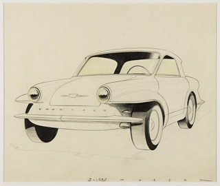 Design for an automobile concept, the small car viewed in 3/4 profile from the front, facing left. Two-door, compact design with whitewall tires. At the front, round headlights at the front of cylindrical protrustions. The car's marque and inscription on the center of the hood above a thin chrome bumper.